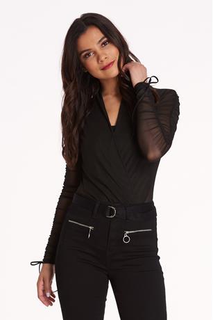 Surplice Ruched Bodysuit BLACK