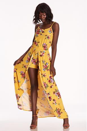 Floral Print Maxi Skort YELLOW