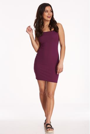 Plum Ribbed Tank Dress