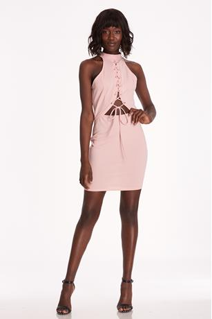 Lace-Up Cutout Dress BLUSH