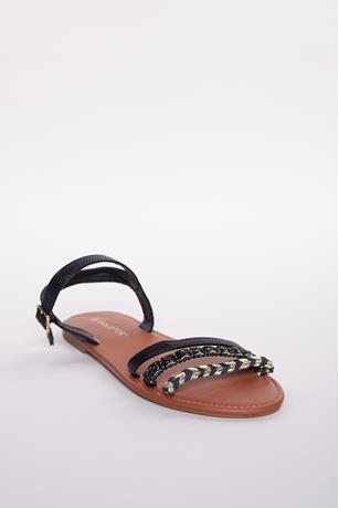 Texture Contrast Strappy Sandals BLACK