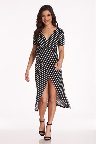 Stripe Side Knot Dress BLACK