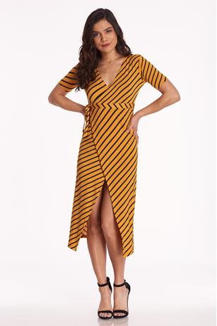 Stripe Side Knot Dress YELLOW