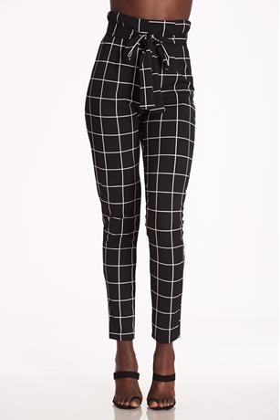 Windowpane Self-Tie Pants