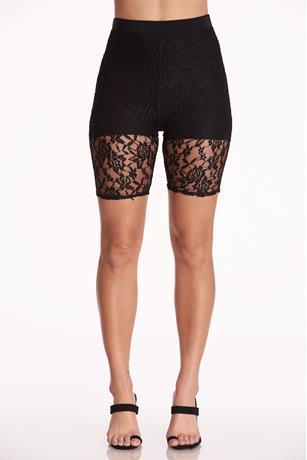 Sheer Lace Bike Shorts BLACK