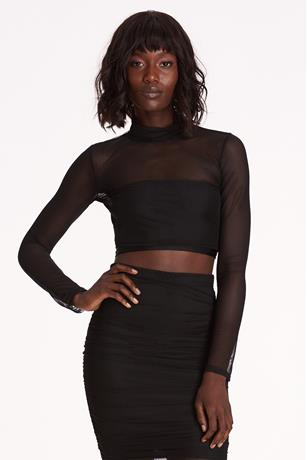 Sheer Mesh Crop Top BLACK