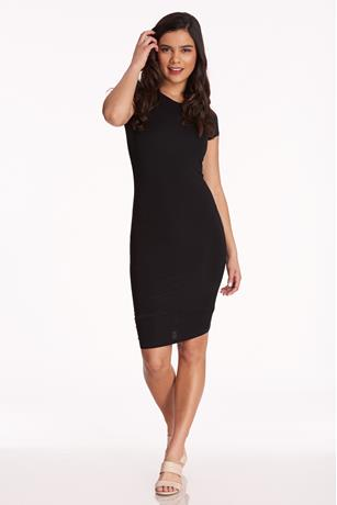Cap-Sleeve Bodycon Dress BLACK