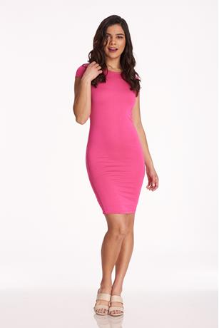 Cap-Sleeve Bodycon Dress FUSCHIA