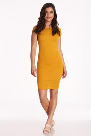 Cap-Sleeve Bodycon Dress YELLOW