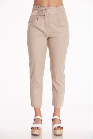 Belted Linen Pants KHAKI