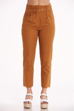Belted Linen Pants RUST
