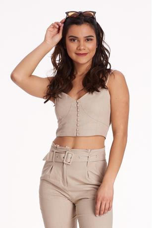 Line Button-UP Crop Top KHAKI