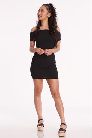 Off-The-Shoulder Mini Dress BLACK