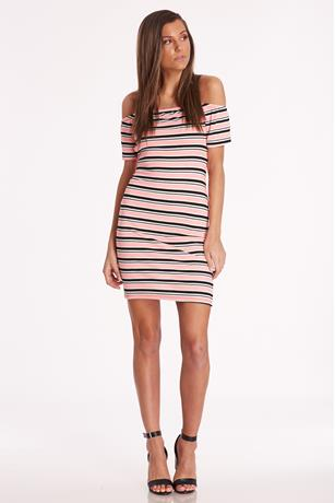 Striped Open-Back Dress CORAL