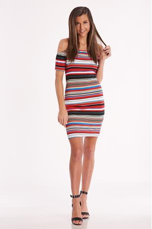Striped Open-Back Dress RED