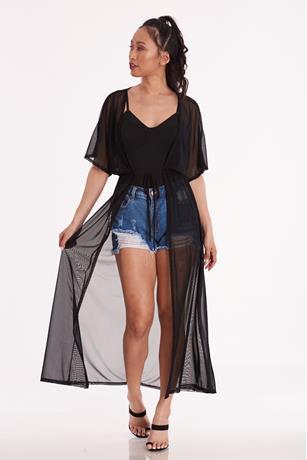 Sheer Mesh Kimono BLACK