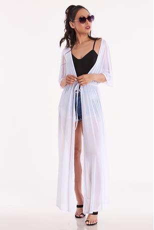 Sheer Mesh Kimono WHITE