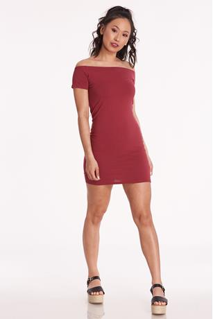 Off-The-Shoulder Mini Dress BURGANDY