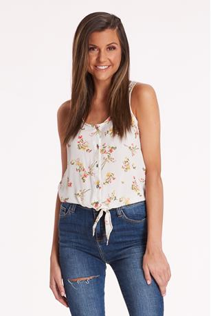 Printed Knotted Button-Front Tank