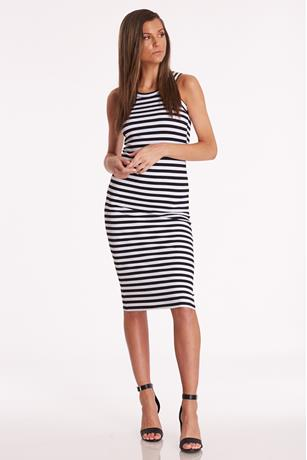 Striped Midi Tank Dress BLKWHT