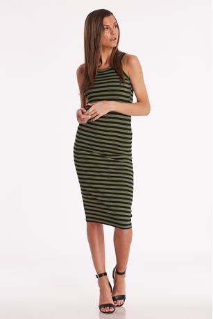 Striped Midi Tank Dress OLIVE