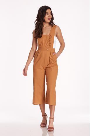 Linen Culotte Jumpsuit CAMEL