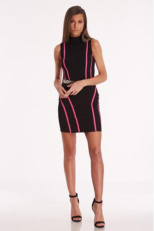 Contrast Belted Dress HOT PINK