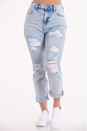 Acid Wash Boyfriend Jeans LIGHT WASH