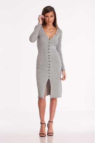 Button Front Midi Dress  HEATHER