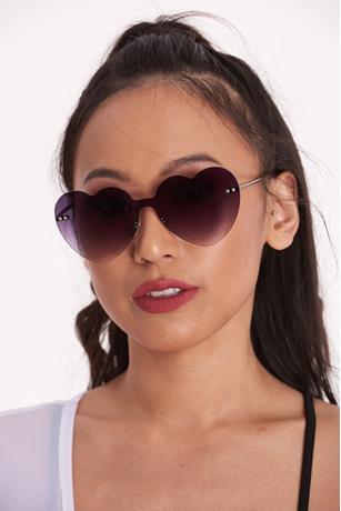 Frameless Heart Sunglasses BLACK