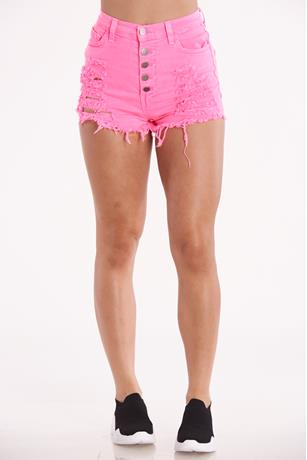 Frayed Neon Shorts NEON PINK