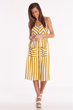 Striped Button-Up Dress MUSTARD