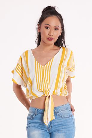 Tie-Front Striped Crop Top MUSTARD
