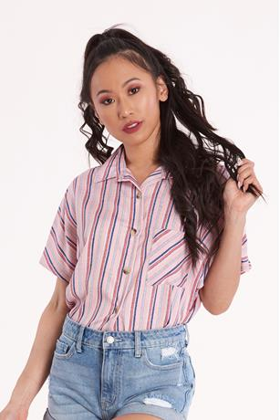 Boxy Stripe Shirt PINK