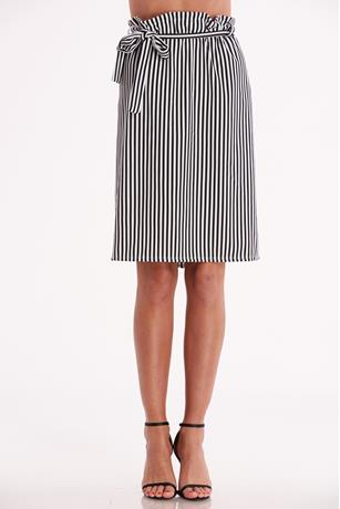 Striped Flared Skirt BLKWHT