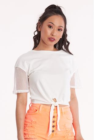 Mesh Sleeve Crop Top WHITE