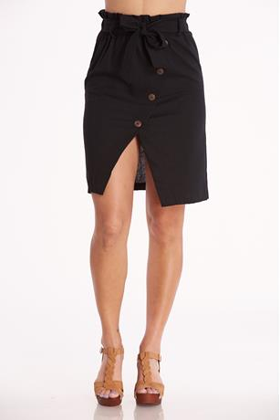 Linen Button-Front Skirt
