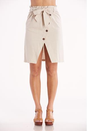 Linen Button-Front Skirt KHAKI