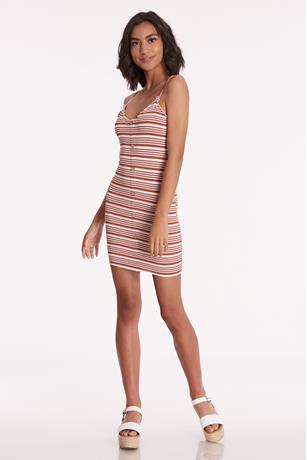 Ribbed Striped Cami Dress RUST