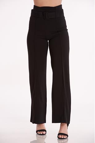Belted Wide Leg Pants BLACK