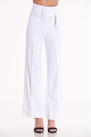 Belted Wide Leg Pants WHITE