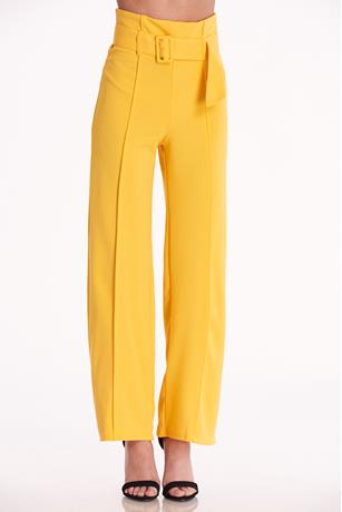 Belted Wide Leg Pants YELLOW