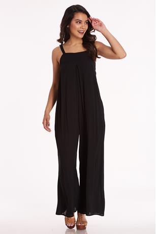 Gauze Square Neck Jumpsuit BLACK