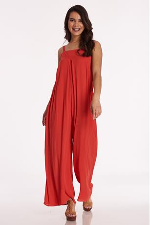 Gauze Square Neck Jumpsuit RUST