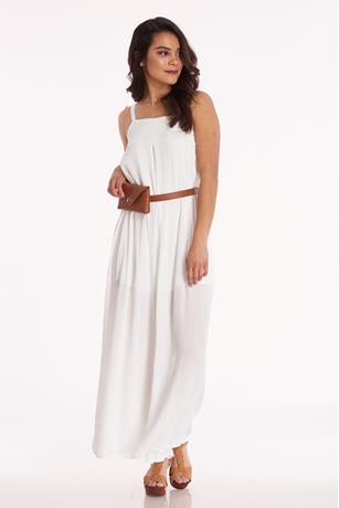 Gauze Square Neck Jumpsuit WHITE