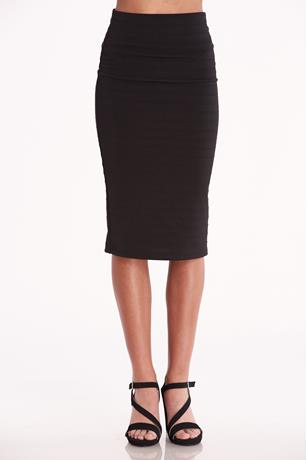 Textured Midi Skirt  BLACK