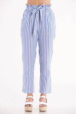 Striped Tie Waist Pants BLUE