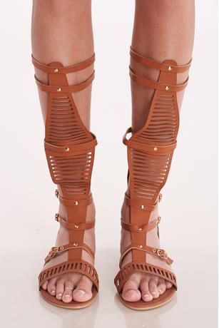 Buckled Gladiator Sandals COGNAC