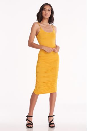 Ruched Bodycon Tank Dress MUSTARD