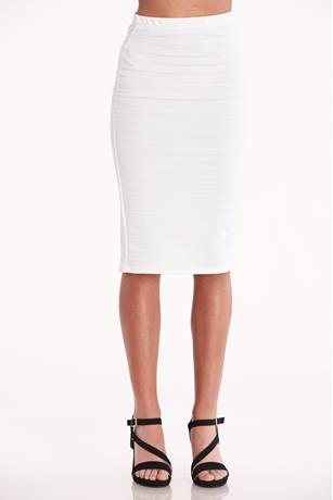 Textured Midi Skirt  WHITE